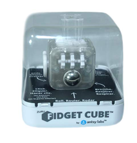 Zuru Fidget Cube by Antsy Labs - Custom Series (Transparent) Clear Fidget Cube with White Accents by Zuru Fidget Cube by Antsy Labs (Image #1)