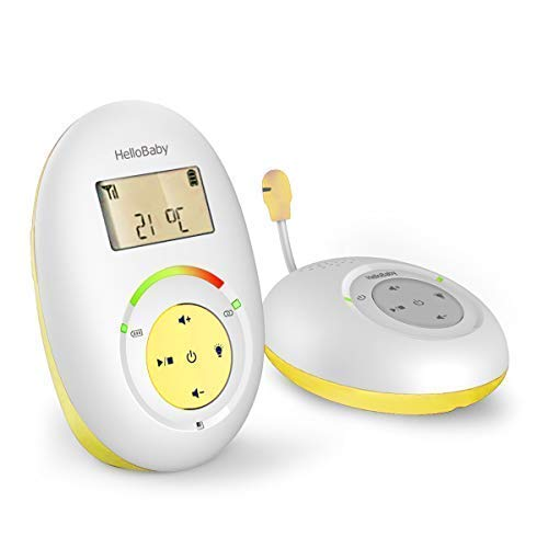 HelloBaby HB180 Two-Way Audio Baby Monitor with Temprature Sensor, Sound Alert, Lullabies & Night Light, Range Up to 1000 ft