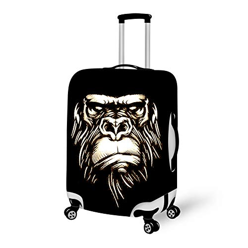 Zipper Closure Luggage Suitcase Cover Fits 18-28 Inch Luggage, 3D Printed Cool Gorilla Monkey Anti-Scratch High Elasticity Travel Luggage Suitcase Cover