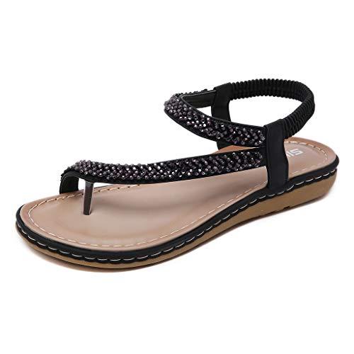 WENSY Fashion Summer Women Bohemian Rhinestones Large Size Comfortable Flat Bottom Toe Roman Sandals Sandals(Black,38)