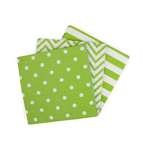 Youmewell Disposable Striped Chevron Polka Dot Green Paper Party Napkins 60 Count]()