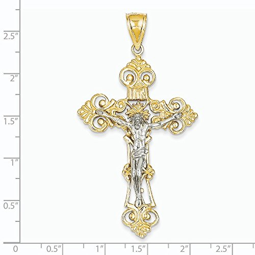 14 carats-Bicolore INRI Crucifix pendentif Fleur de lys-Dimensions :  67.9 JewelryWeb x 36 mm