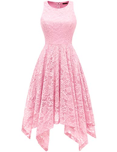Bridesmay Women's Boatneck Sleeveless Elegant Floral Lace Asymmetrical Hanky Hem Cocktail Party Midi Dress Pink L