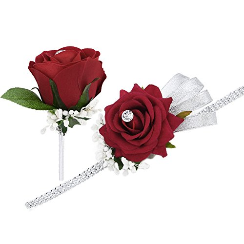 FAYBOX Wedding Prom Velvet Rose Rhinestone Corsage and Boutonniere Set With Silvery Ribbon Stretch Bracelet (Wine Red) (Corsages For Prom)