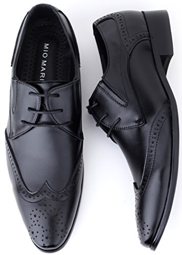 Mio Marino Mens Dress Shoes – Oxford Wingtip Lace – Leather Shoes For Men, in a Shoe Bag – Black – Wingtip – 9.5 D (M) US