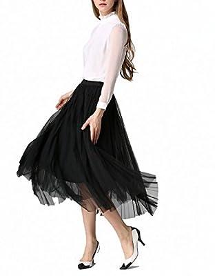 Afibi Women Retro Vintage Prom Formal Skirts Pleated Skirts Tutu Tulle Skirt