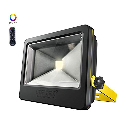 LOFTEK 50W RGB Floodlight, Outdoor Color Changing Flood Light with Dimming and Timer Setting Function, Waterproof IP 66 Spotlight for Lawan and Garden,Black ()
