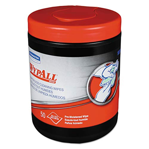 WypAll 58310 Heavy-Duty Waterless Cleaning Wipes, 12 x 9 1/2, Green-White, 50 per Canister (Case of 8)