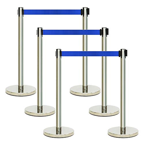 The Shopfitting Shop 6 x Blue Retractable Crowd Control Barrier Posts Queue Management Safety System 2 Metres of Webbing Per Post