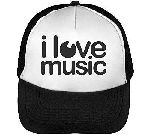 I Music Minimal Style Simple `Shape Less Is Better Gorras Hombre Snapback Beisbol Negro Blanco
