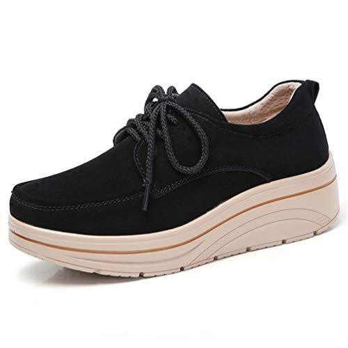 Pelle Casual Donna Autunno Nero Spessore Sneakers Femminili Scarpe Lace Suola B up Scamosciata Flats 7xzwPPq
