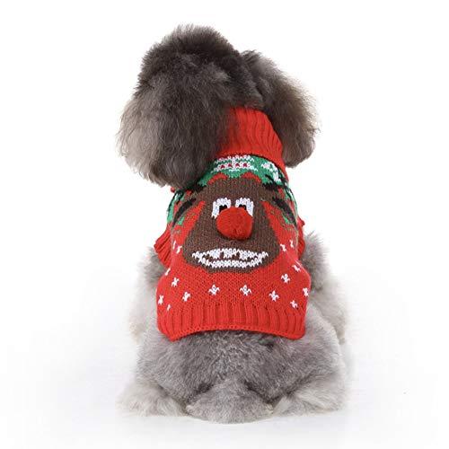 CheeseandU Pet Christmas Sweater Small Dog Cat Xmas Reindeer Knit Sweater Winter Soft Warm Stretch Pullover Knitted Wear…