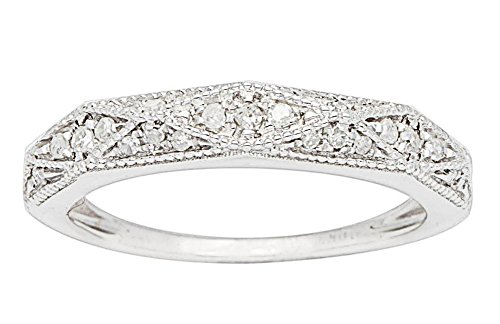 (Instagems 10k White Gold Milgrain Diamond Wedding Band (1/5 cttw, I-J, I2-I3))