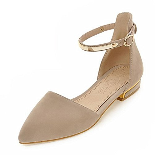 Shoes Smilice Fashion Strap Closed Flat Toe Comfortable Ankle Women Heel Beige Sandals Pointed and grvgXFzqw