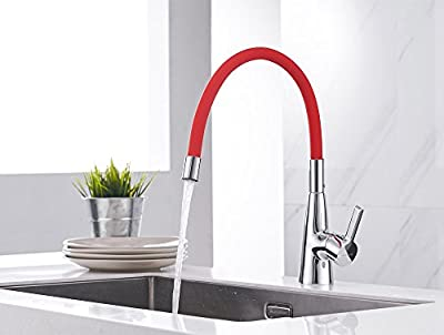 Sanliv One-Hole Kitchen Faucet Single Handle Sink Mixer Tap with Flexible Swivel Spout