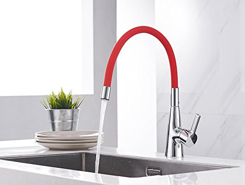 Sanliv Single Lever Kitchen Faucet One Hole Hot+Cold High-Arch Bar Sink Mixer Tap with Polished Chrome Body and 360 Degree Rotation Red Flexible Gooseneck