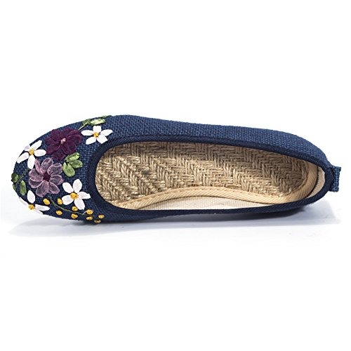 Women's Flats Shoes Flower Embroidery Round Toe Casual Slip On by FUT (Image #6)