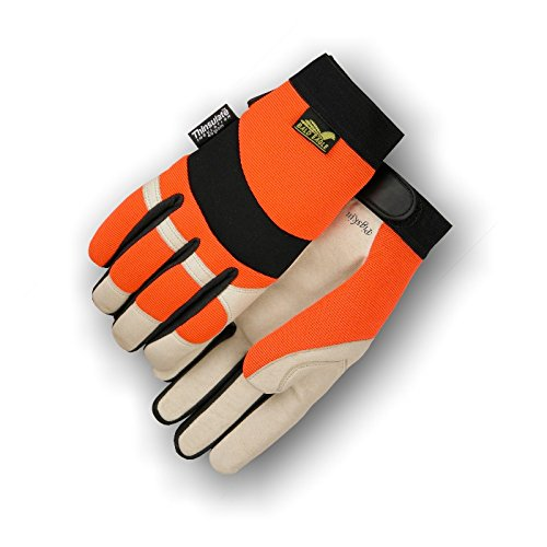 (12 Pair) Majestic PIGSKIN GLOVES WITH HIGH VISIBILITY BACK & THINSULATE - XTRA LARGE, BEIGE(2152THV/11)