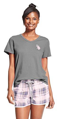 U.S. Polo Assn. Womens 2 Piece Cap Sleeve Shirt Elastic Waist Pajama Shorts Set Charcoal Heather 2X-Large (Polo Cap Lady)