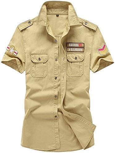 IYFBXl Camisa Militar para Hombre - Bordado geométrico, Caqui, XXL: Amazon.es: Deportes y aire libre