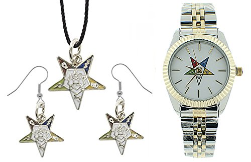 Mason Zone 3 Piece Jewelry Set - Order of The Eastern Star Pendant, Hook Earrings & Order of The Eastern Star Watch. OES Symbol on Silver Gold Duo Tone Steel Band White Face