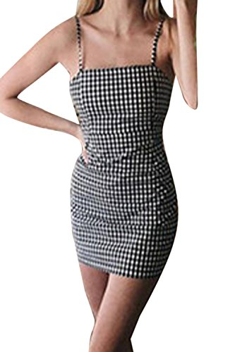 Nero Occasionale Quadri Scollato Con Donne Mini Vestito Le Estate Maniche Bodycon vHwgOTq