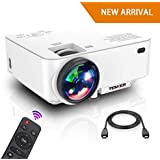 Projector, Upgraded TENKER Projector, Now 65% Brighter, Mini Home Theater Movie Projector with 4.0 LCD and Up To 176-inch Display, Supports 1080P HDMI/USB/SD Card/AV/VGA for TVs/Laptops/Games