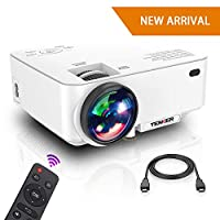 "Projector, Upgraded TENKER Projector, Now 65% Brighter, Mini Home Theater Movie Projector with 4.0"" LCD and Up To 176-inch Display, Supports 1080P HDMI/USB/SD Card/AV/VGA for TVs/Laptops/Games"