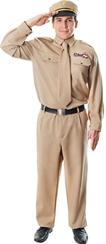 Adult Men's Ww2 Us Gi Soldier Fancy Dress War Time Party Army General (Us Army General Costume)