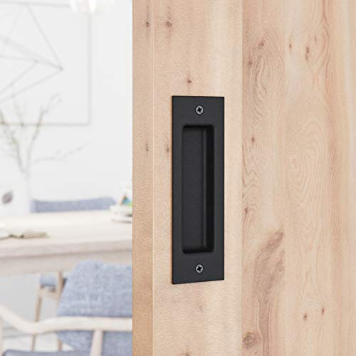 SMARTSTANDARD Flush Pull 6-1/2inch Matte Black Frosted Handle for Sliding Barn Door Hardware Finger -