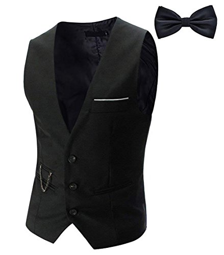 Tueenhuge Men's Top Designed Tuxedo Blazer Suit Vest Waistcoat with Bow Tie Black