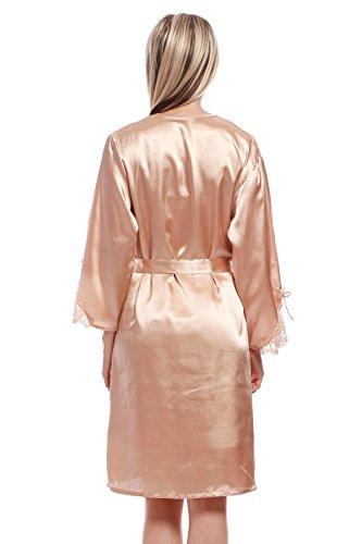 Sexy BellisMira Con Cintura Kimono Donne Biancheria Pigiama Notte Vestaglia Camicia Accappatoio Della Kimono Sciolto Raso Da Oro Solo Setosa FFwnHqREr