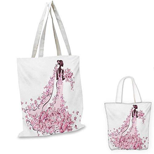 Wedding non woven shopping bag Flowers Hearts Butterflies on Wedding Dress Bridal Gown Artowork Print fruit shopping bag Pale Pink Maroon White. 14