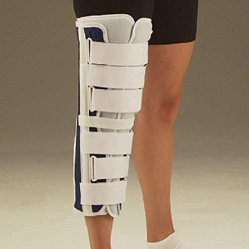 Deluxe Knee Brace SALE. Tri-Panel Knee Immobilizer, Navy Blue Canvas, 14