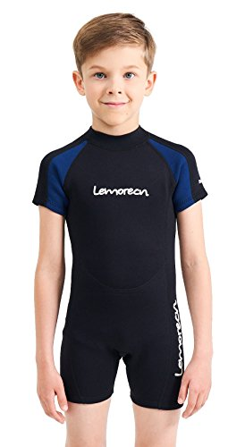 Lemorecn Wetsuits Youth Premium Neoprene 2mm Youth's Shorty Swim Suits (4021, 12)