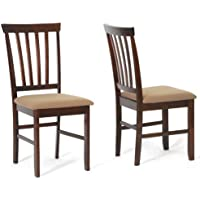 Baxton Studio Tiffany Wood Modern Dining Chair, Brown, Set of 2