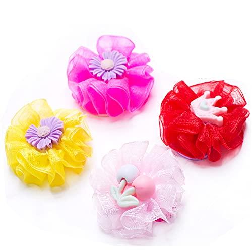 Harsgs Handmade Elastic Hair Ties, Colorful Flower Hair Ties, Hairpins for Girls Hair Ponytail Holder with Flowers, Pack of 4