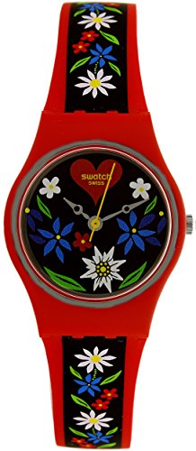 Swatch LR129 Ladies Roetli Red Silicone Strap Watch