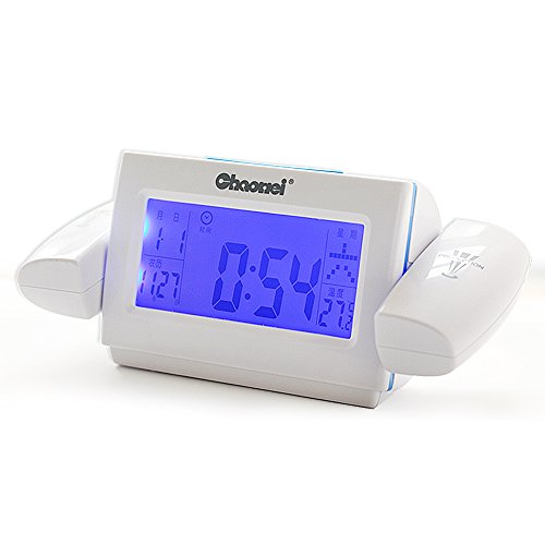 Ieasycan Digital LCD Snooze Dual Projection Alarm Clock Clapping Voice Controlled Backlight Thermometer Tempeture Calendar For Gift (Wine If The Month Club)
