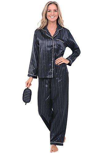 Alexander Del Rossa Womens Satin Pajamas, Long Button-Down Pj Set and Mask, Large Black Striped (A0750R18LG)