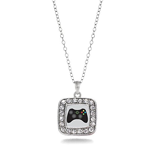 Gamer-Girl-Gaming-Charm-Classic-Silver-Plated-Square-Crystal-Necklace