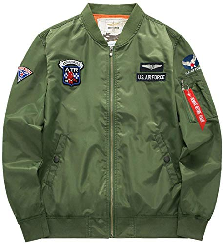color Con Di armeegrün Vintage Badge Classica Marca Jacket Size Patch Per Flight M Da Uomo A Giacca 4 Leggera Bomber Air Force Mode Zip Vento R7WBqvw