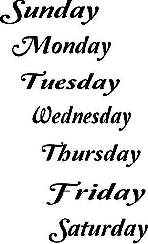 QuotDays Of The Weekquot Vinyl Decal Each Word 4quot