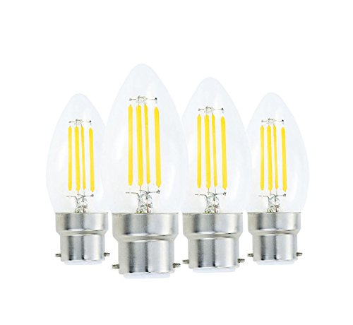 - Lamsky 4W B22 Bayonet LED Filament Candle Light Bulb,2700K Warm White 400LM,C35 Shape Bullet Top,40W Incandescent Equivalent,Non-dimmable,4 Pack