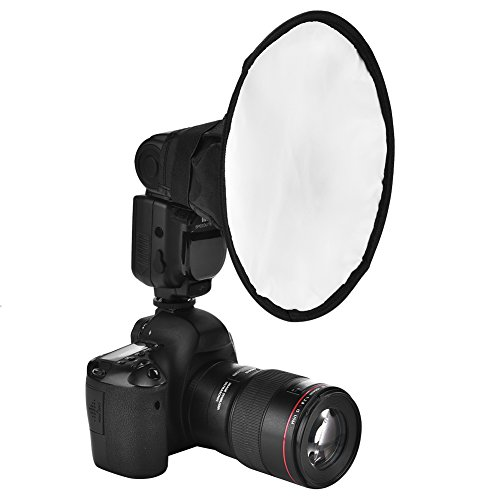 Acouto 8inch Portable Trumpet Shape Speedlite Flash Diffuser Softbox for Canon, Nikon and Other DSLR Cameras Flashes