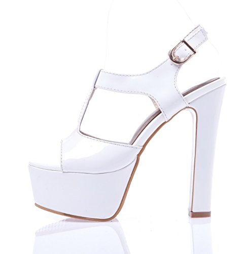 AllhqFashion High Heels White Patent Leather Solid Sandals Buckle Womens 6q6rFx