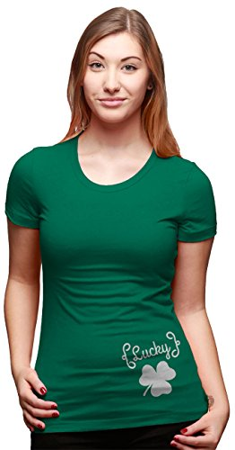 Crazy Dog TShirts - Womens Lucky Clover Side Print T Shirt Cute Tee For Saint Patricks Day - Camiseta Para Mujer