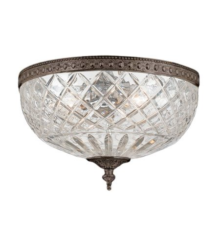 Cortland Flush Mount Light - Flush Mounts 3 Light with English Bronze Lead Crystal Cast Brass 12 inch 180 Watts - World of Lighting