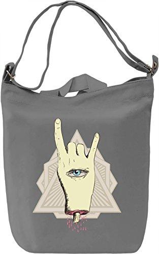 Illuminati hand Borsa Giornaliera Canvas Canvas Day Bag| 100% Premium Cotton Canvas| DTG Printing|