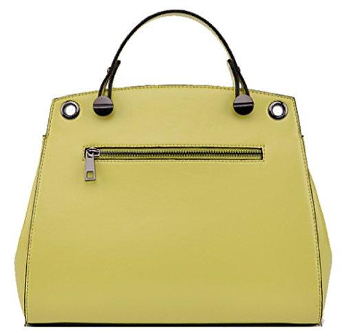 SAIERLONG Women's Cross Body Bag Handbag Tote lemon yellow Cow Leather - Messenger Telescopic Handle WAX PAPER